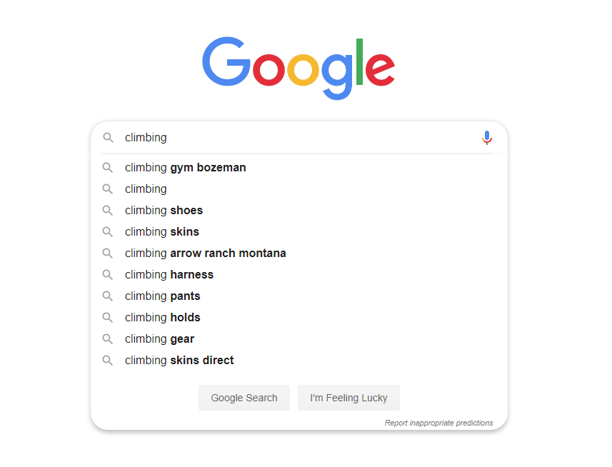 google autocomplete search for climbing search term