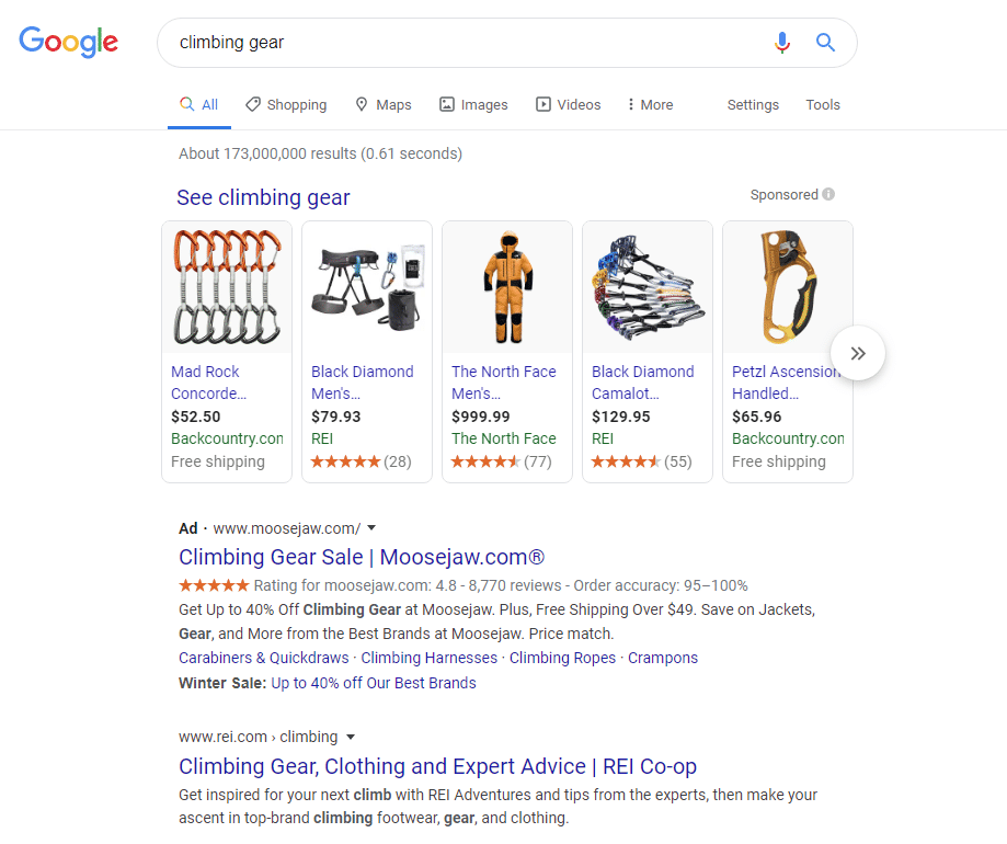 google search result page for climbing gear