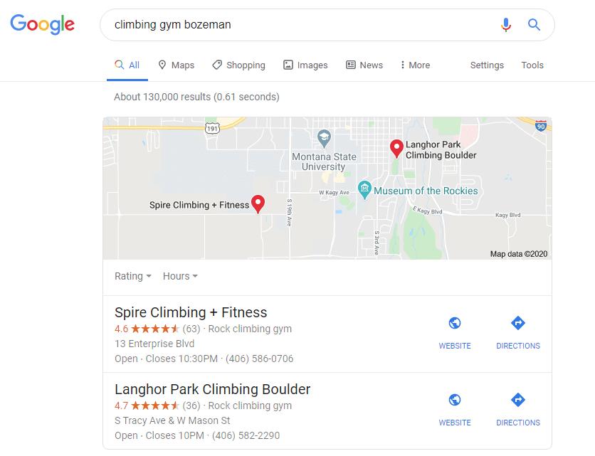 local search query for climbing gym bozeman