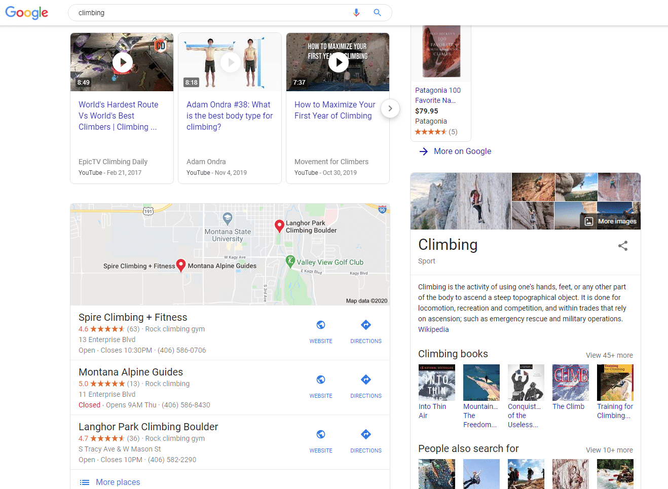 Google search result page for climbing