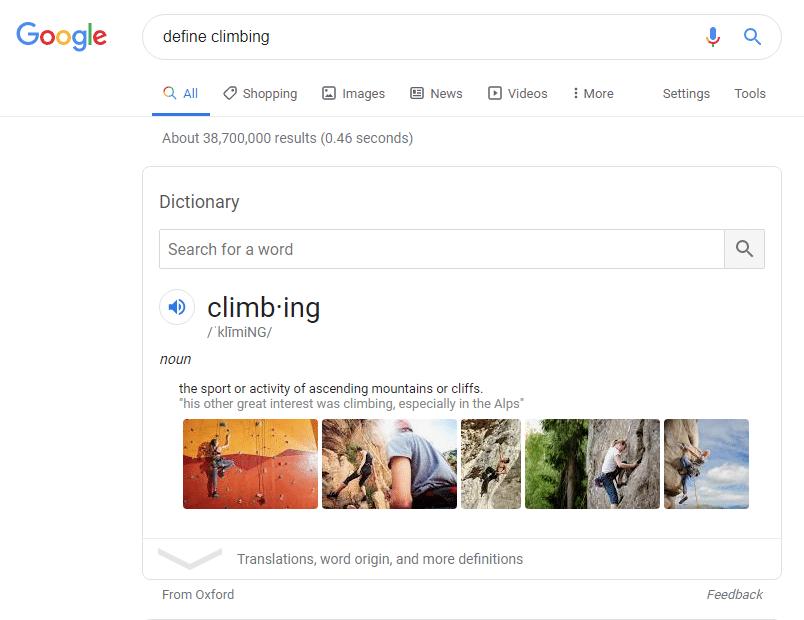 Google knowledge graph for define climbing