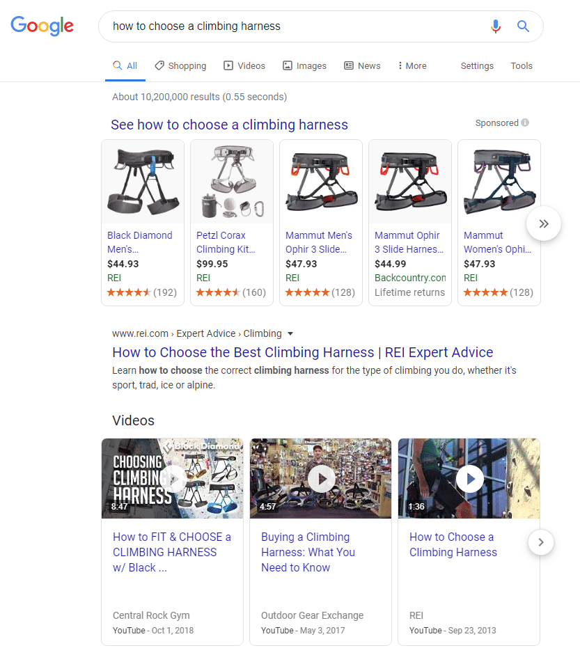 Google search result page for how to choose a climbing harness