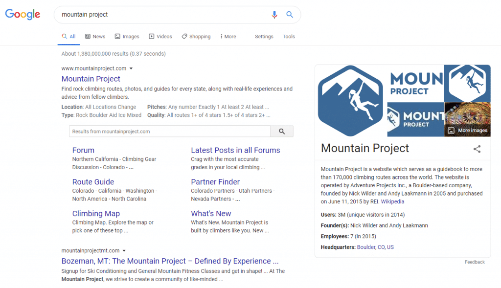 navigational search query for mountain project
