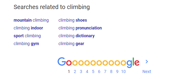 searches related to climbing at bottom of Google search result page